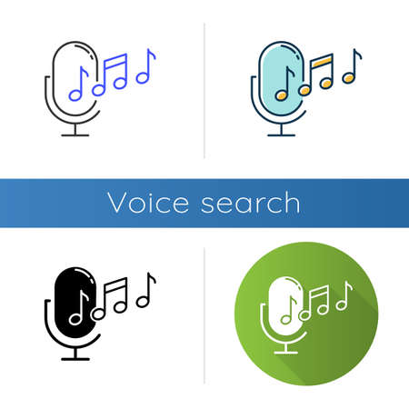 Ringtone recognition icons set. Melody definition app idea. Sound recorded. Microphone and notes, music equipment. Voice command. Linear, black and color styles. Isolated vector illustrations
