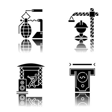Industry types drop shadow black glyph icons set. Financial services, arms, construction, music sectors of economy. Goods and services production. Business spheres. Isolated vector illustrations Illustration