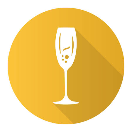 Sparkling wine yellow flat design long shadow glyph icon. Tulip wineglass. Champagne. Alcohol beverage. Party cocktail. Sweet aperitif drink. Bar, restaurant. Vector silhouette illustration Vettoriali