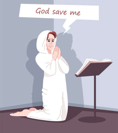 Religious obsession flat vector illustration. Spiritual dependence. Fanatic worshiper. Pious young woman kneeling, female believer praying, asking God for salvation cartoon character