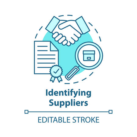 Identifying supplies concept icon. Trade agreement. Make deal. Partnership. Contract for delivery raw materials and goods idea thin line illustration. Vector isolated outline drawing. Editable stroke
