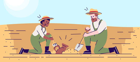 Search for ancient artifacts flat vector illustration. Archaeological excavations. Treasure hunters. Archaeologists in working process. Man and woman studying lost civilization cartoon characters
