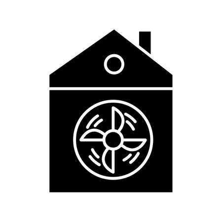 House ventilation glyph icon. Conditioning home. Clean germs and microbes. Dust ventilation system. Ventilator for clear air. Silhouette symbol. Negative space. Vector isolated illustration