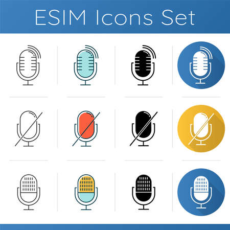 Microphones forbidden icons set. Sound recorder error notification idea. Recording prohibited. Voice speaker installation.Linear, black and color styles. Isolated vector illustrations Vettoriali
