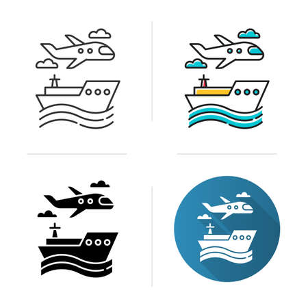 Transport industry icon. Plane and ship. Boat on waves. Airplane in sky. Travel, trip, voyage. Vacation and tourism business. Flat design, linear and color styles. Isolated vector illustrations