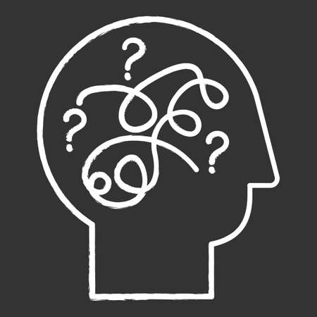 Puzzled mind chalk icon. Mental exercise. Ingenuity, intelligence test. Critical thinking. Brain teaser. Logic questions. Solution finding porcess. Isolated vector chalkboard illustration