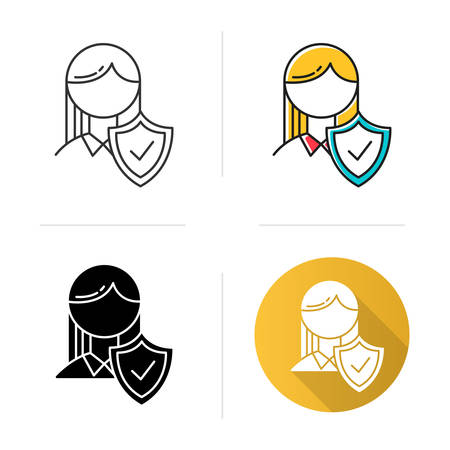 Insurance industry icon. Life and health protection. Safety and security guarantee. Professional assurance. Risk, danger regulation. Flat design, linear and color styles. Isolated vector illustrations