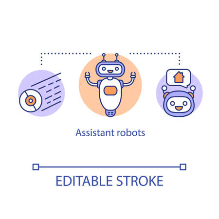 Assistant robots concept icon. Household robotic device. Artificial intelligence in modern life. Support service idea thin line illustration. Vector isolated outline drawing. Editable stroke Vettoriali