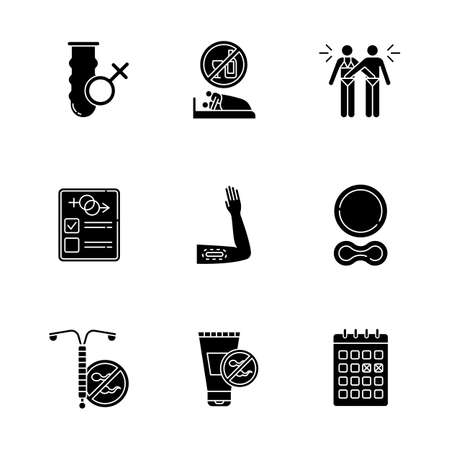 Safe sex glyph icons set. Condom. Sober intercourse. Mutual masturbation. Test. Contraceptive implant, ring. Intrauterine device. Spermicide. Calendar. Silhouette symbols. Vector isolated illustration