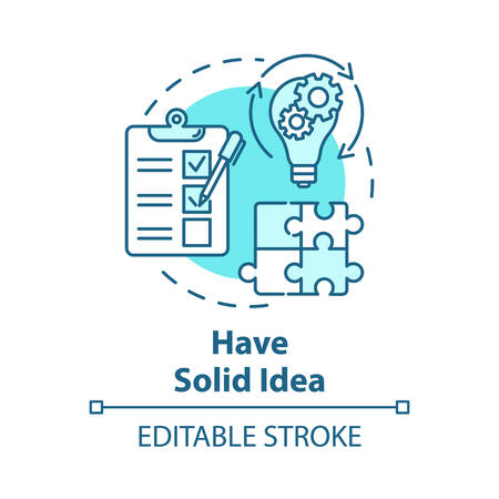 Have solid idea concept icon. Planning and management. Direct movement to goal. Process control. Business plan idea thin line illustration. Vector isolated outline drawing. Editable stroke Ilustrace