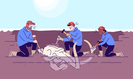 Mammoth skull excavation flat vector illustration. Paleontological observations. Prehistoric animal researching. Earth evolution study. Three men digging ancient bones cartoon characters