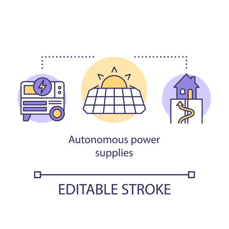 Autonomous power supplies concept icon. Alternative sources of electricity. Generator, solar battery, geothermal system idea thin line illustration. Vector isolated outline drawing. Editable stroke