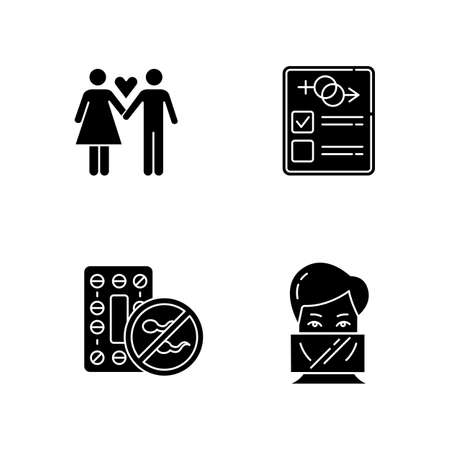 Safe sex glyph icons set. Only one partner. Monogamy. Man and woman in love. Girlfriend and boyfriend. Sex test. Oral contraceptive pills. Dental dams. Silhouette symbols. Vector isolated illustration