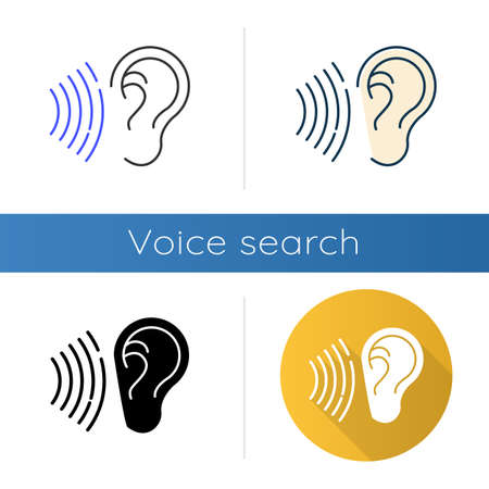 Sound signal icons set. Audible soundwave idea. Listening ear. Loud noise perception. Voice call, sound susceptibility. Hearing ability. Linear, black and color styles. Isolated vector illustrations Illusztráció