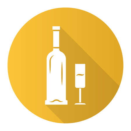 Open bottle and glass of champagne yellow flat design long shadow glyph icon. Sparkling wine. Aperitif, alcohol beverage, drink. Glassware, winery, wineglass. Vector silhouette illustration  イラスト・ベクター素材