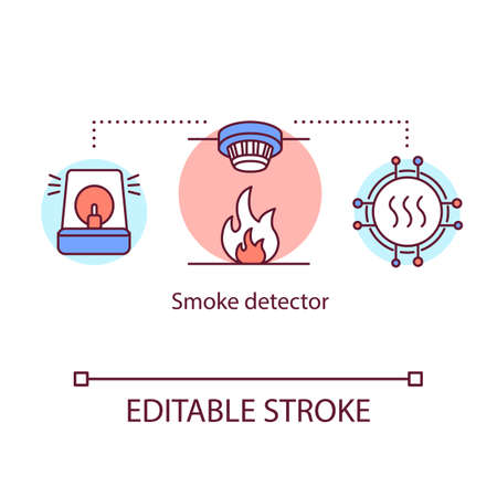 Smoke detector concept icon. Electronic fire safety system. Smoke sensor. Emergency alarm. Home safety device idea thin line illustration. Vector isolated outline drawing. Editable stroke Vettoriali