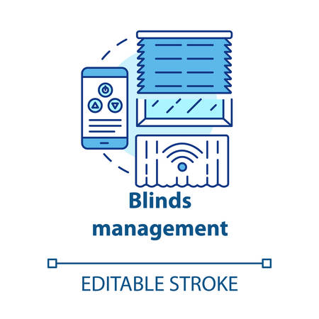 Blinds management concept icon. Smart house management idea thin line illustration. Innovative technology for apartment. Remote control. Vector isolated outline drawing. Editable stroke