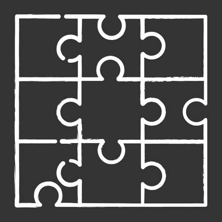 Jigsaw puzzle chalk icon. Tiling, assembly game. Interlocking pieces. Mental exercise. Ingenuity, intelligence test. Brain teaser. Problem solving. Isolated vector chalkboard illustration