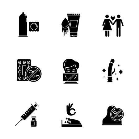Safe sex glyph icons set. Condoms. Oral contraceptive pills. Woman, man in love. Sex toys. Dental dams. Vaccination. Sex with consent. Cervical cap. Silhouette symbols. Vector isolated illustration Illusztráció