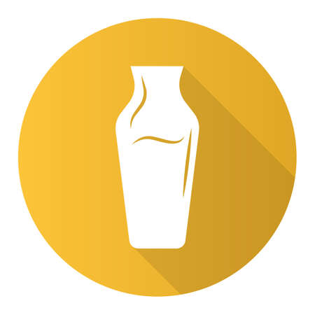 Wime service yellow flat design long shadow glyph icon. Decorative decanter with alcohol beverage. Aperitif drink. Bar, restaurant, winery glassware. Vector silhouette illustration