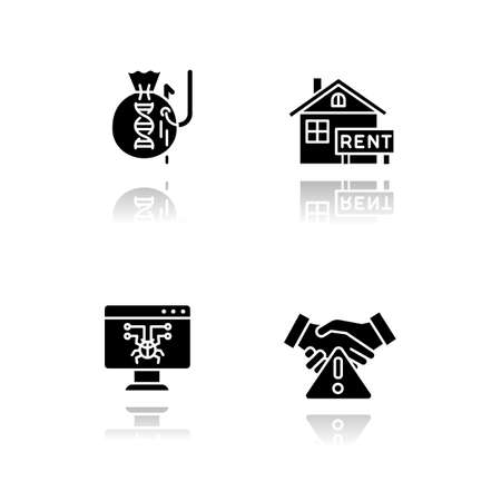 Scam types drop shadow black glyph icons set. Inheritance, home rental fraudulent scheme. Computer hacking. Employment scamming. Financial scamming. Illegal money gain. Isolated vector illustrations