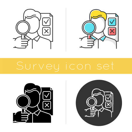Survey interviewer icon. Face-to-face interview. Human-assisted poll. Public opinion polling. Expert survey. Feedback. Glyph design, linear, chalk and color styles. Isolated vector illustrations