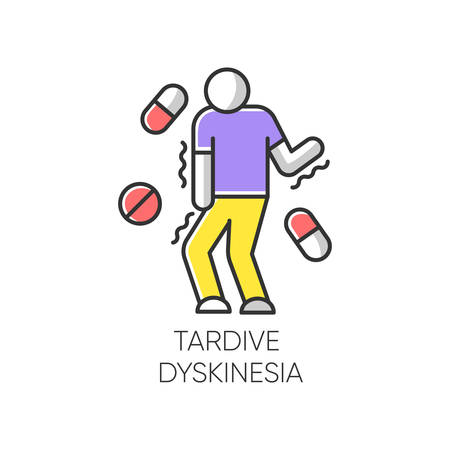 Tardive dyskinesia color icon. Tremor from medication. Movement problem from neuroleptics. Chorea, athetosis. Mental disorder. Neurological disease from pills. Isolated vector illustration