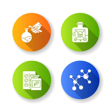 Science development flat design long shadow glyph icons set. Biotechnologies products. Artificial sweetener. Producing chemicals. Organic chemistry research. Vector silhouette illustration Illustration