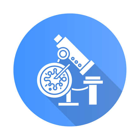 Infection test blue flat design long shadow glyph icon. Medical procedure. Blood culture test. Microscope with sample. Disease examination. Hematology, microbiology. Vector silhouette illustration