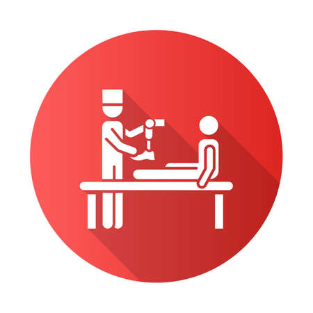 Prosthetics red flat design long shadow glyph icon. Medical procedure. Doctor, patient. Amputee. Mechanical leg prosthesis. Injury treatment. Help for veterans. Vector silhouette illustration Stock Illustratie
