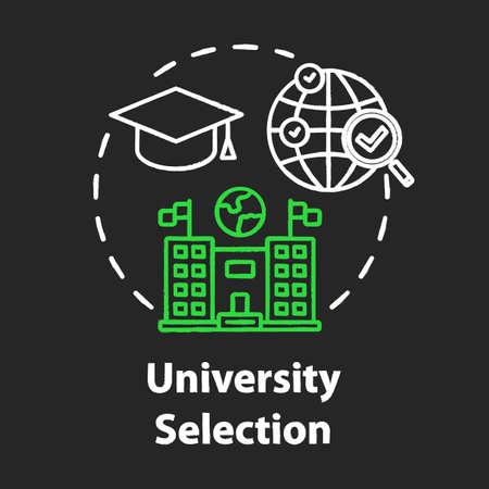 Icono de concepto de tiza de selección universitaria. Elige la universidad. Educación superior en el extranjero. Idea de aprendizaje a distancia internacional. Vector ilustración de pizarra aislada Ilustración de vector