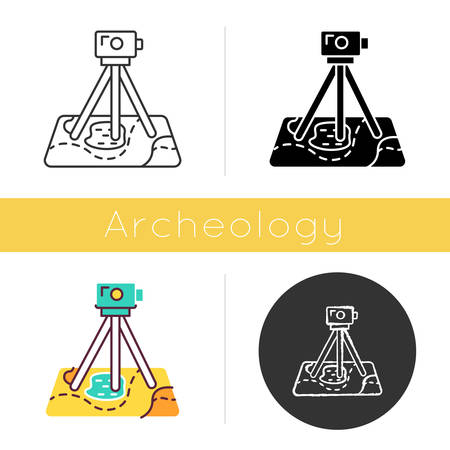 Field survey icon. Research equipment. Archeological exam. Digital tool on map. Geological inspection. Topographic data gathering. Flat design, linear and color styles. Isolated vector illustrations Vektoros illusztráció