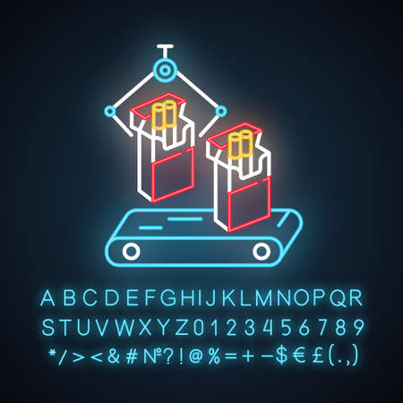 Tobacco industry neon light icon. Conveyor automatic cigarette production line. Products for smokers plant. Glowing sign with alphabet, numbers and symbols. Vector isolated illustration Illustration