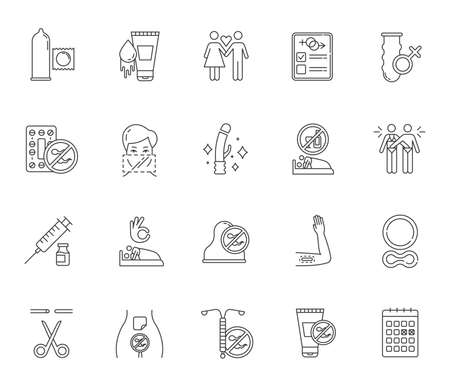 Safe sex linear icons set. Condoms. Lube, spermicide. Sterilisation. Sex with consent. Contraceptive patch, device. Thin line contour symbols. Isolated vector outline illustrations. Editable stroke