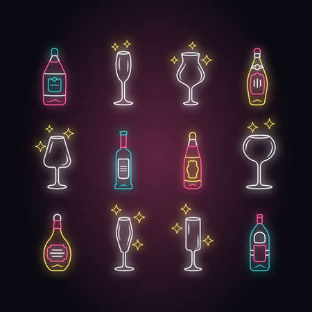 Alcohol drink glassware neon light icons set. Wine service elements. Crystal glasses shapes. Drinks and beverages types. Red wine and whiskey bottles. Glowing signs. Vector isolated illustrations