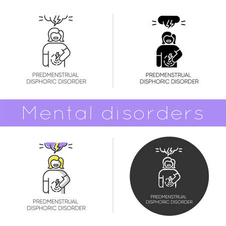 Predmenstrual dysphoric disorder icon. Menstrual cramp. Woman in pain. Physical tension. Premenstrual health care. Mental issue. Flat design, linear and color styles. Isolated vector illustrations