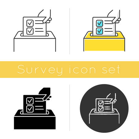 Anonymous survey icon. Ballot box. Feedback form. Opinion polling. Social research. Voting. Data collection. Sociology. Glyph design, linear, chalk and color styles. Isolated vector illustrations