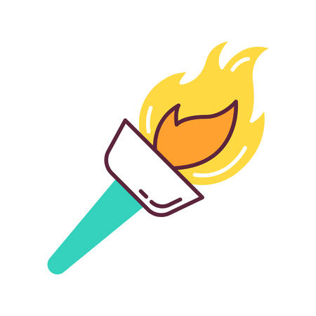 Medieval torch color icon. Flambeau. Burning fire. Bright beacon. Flare, bonfire. Ancient sport victory. Historical discovery. Traveling and exploration. Isolated vector illustration