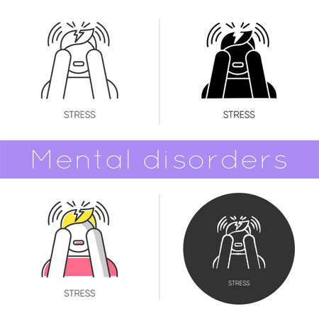 Stress icon. Anxiety and panic attack. Emotional problem. Distress. Migraine and headache. Worried man. Mental disorder. Flat design, linear and color styles. Isolated vector illustrations