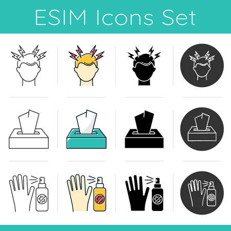 Common cold icons set. Headache. Dispodable wipes. Paper tissues. Antiseptic and antibacterial. Migrane from stress. Flat design, linear, black and color styles. Isolated vector illustrations Çizim