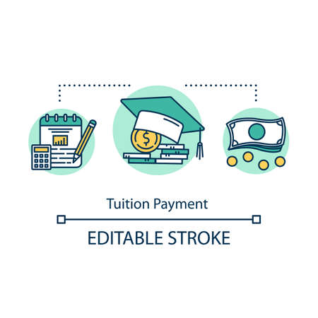 Tuition payment concept icon. Financial grant for education. Schooling cost. Knowledge investment. College savings fund idea thin line illustration. Vector isolated outline drawing. Editable stroke