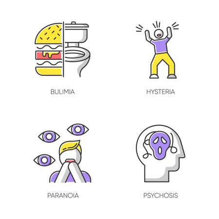 Mental disorder color icons set. Bulimia. Eating disorder. Hysteria. Panic attack. Anxiety, depression. Paranoia. Fear and phobia. Psychosis. Psychiatric illness. Isolated vector illustrations
