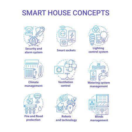 Smart house blue gradient concept icons set. Innovative technology for apartments idea thin line illustration. Domotics. Smoke detectors. Home automation. Vector isolated outline drawing Ilustracja
