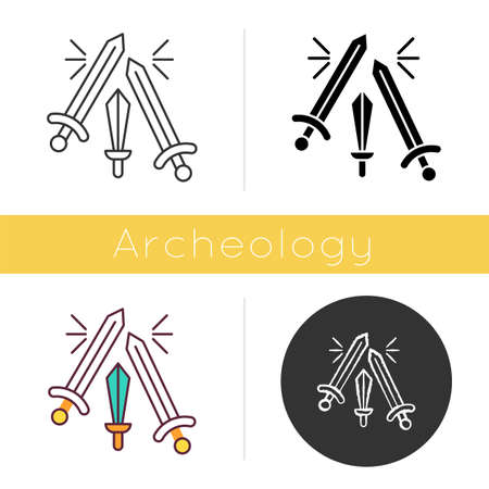 Sword fighting icon. Weapon clashing. Battling and war. Ancient history. Longswords and broadswords. Battlefield. Flat design, linear and color styles. Isolated vector illustrations