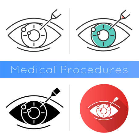 Vision correction icon. Medical surgical procedure. Astigmatism treatment. Ophthalmology. Laser operation. Eye disorder recovery. Flat design, linear and color styles. Isolated vector illustrations