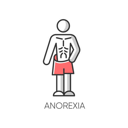 Anorexia color icon. Eating disorder. Underweight body mass. Anxiety and depression. Slim and skinny person. Unhealthy weight loss. Mental health. Clinical psychology. Isolated vector illustration Illustration