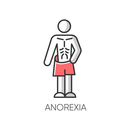 Icône de couleur d'anorexie. Trouble de l'alimentation. Masse corporelle insuffisante. Anxiété et dépression. Personne mince et maigre. Perte de poids malsaine. Santé mentale. Psychologie clinique. Illustration vectorielle isolé