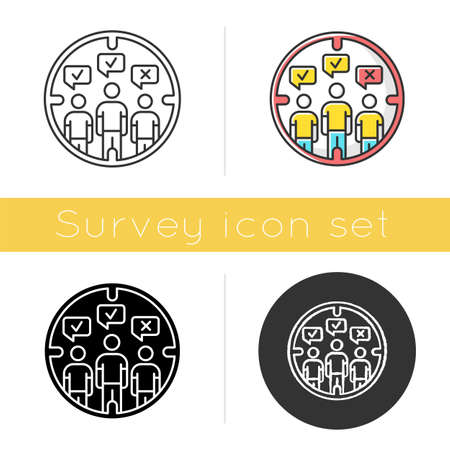 Survey target audience icon. Public opinion. Focus group. Research. Customer satisfaction, review. Feedback. Evaluation. Glyph design, linear, chalk and color styles. Isolated vector illustrations