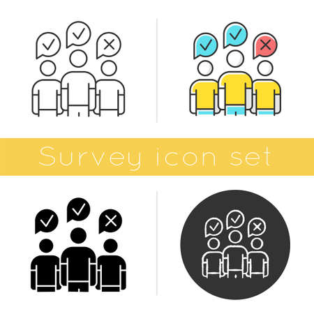 Community survey icon. Group administered questionnaire. Public opinion polling. Social research. Customer satisfaction. Glyph design, linear, chalk and color styles. Isolated vector illustrations