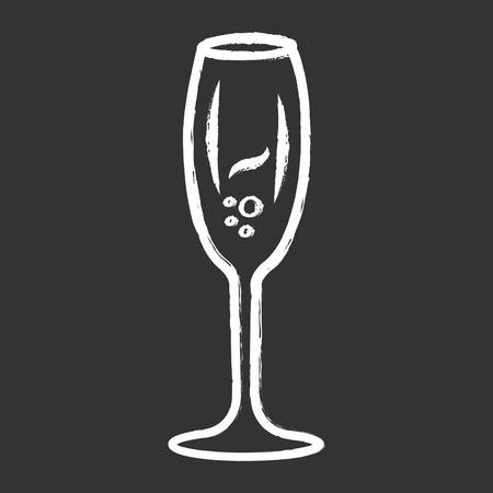 Sparkling wine chalk icon. Tulip wineglass. Champagne. Alcohol beverage. Party cocktail. Sweet aperitif drink. Tableware, glassware. Bar, restaurant. Isolated vector chalkboard illustration